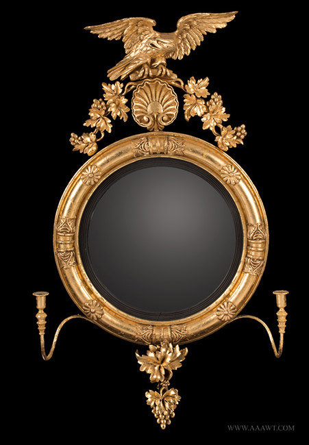 Antique Carved Giltwood Girandole Mirror Sumounted with Eagle, Circa 1800, entire view