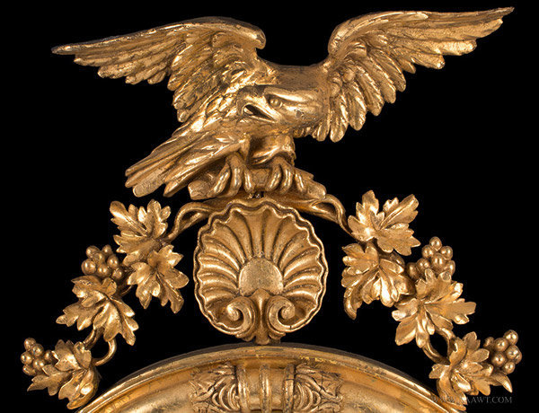 Antique Carved Giltwood Girandole Mirror Sumounted with Eagle, Circa 1800, eagle detail