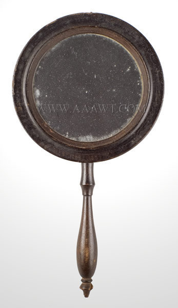 Mirror, Hand Held, Two Sided, Finely Turned Handle, Brass Hanging Ring  19th Century, entire view