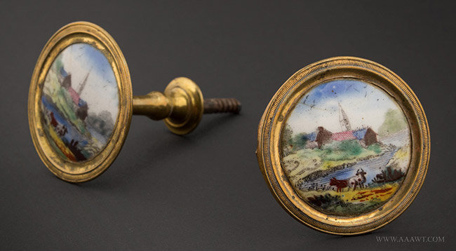 Antique Pair of Enamel and Brass Mirror Supports, 19th Century, pair view