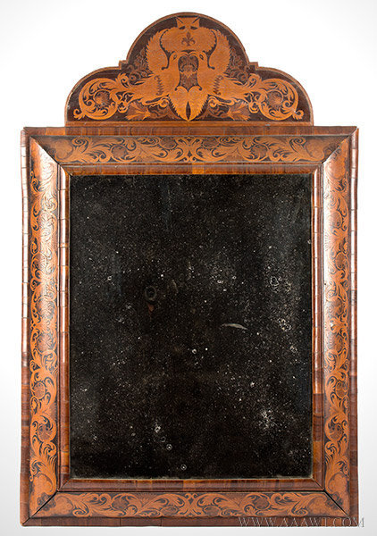 Looking Glass, Marquetry, Extremely Rare, New England History, EX Lockwood Northwest Europe, Circa 1680 to 1700, entire view