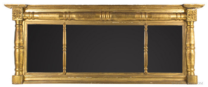 Antique Large Three Section Overmantle Gilt Mirror, 19th Century, entire view