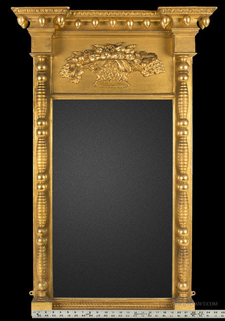 Antique Federal Mirror Attributed Samuel Field McIntire, Massachusetts, Circa 1815, with ruler for scale