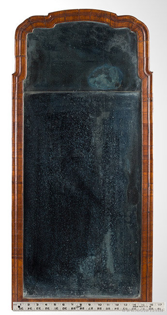 Antique William and Mary Mirror with Original Double Plate Beveled Glass, 18th Century, with ruler for scale
