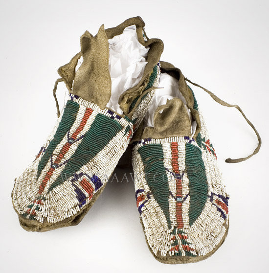 Antique Moccasins, Cheyenne, Beaded, Circa 1870 to 1890, pair view