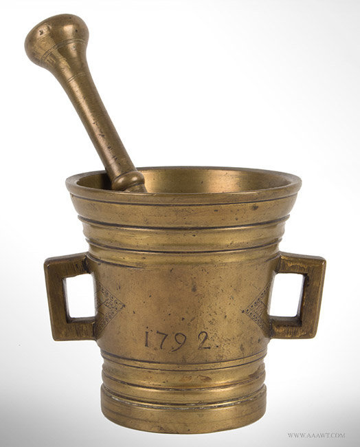 Antique Cast and Turned Brass Mortar and Pestle, Dated 1792, entire view 1