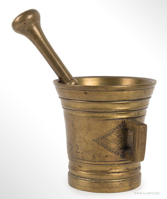 Antique Cast and Turned Brass Mortar and Pestle, Dated 1792, angle view