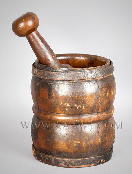 Mortar and Pestle, Robust Turning, Hand Forged Iron Straps, Original Surface New England 18th Century, entire view 1
