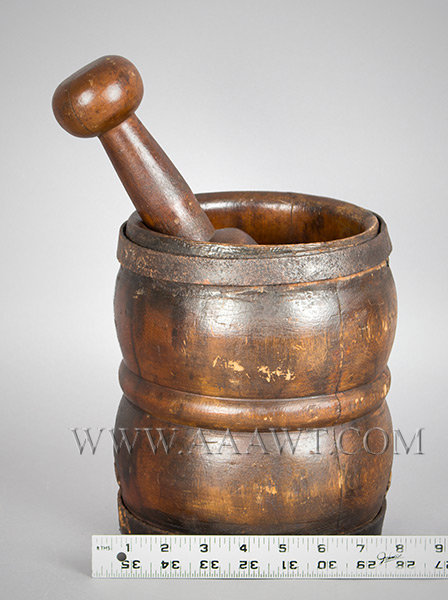 Mortar and Pestle, Robust Turning, Hand Forged Iron Straps, Original Surface New England 18th Century, scale view