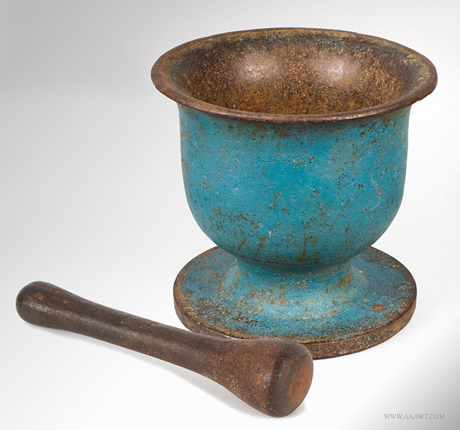 Antique Cast Iron Bell Form Mortar and Pestle in Blue Paint, 19th Century, angle view