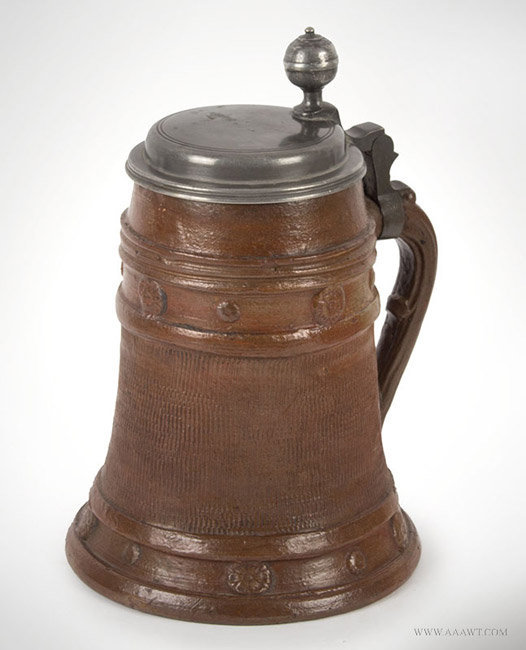 Antique Brown Stoneware Pewter Mounted Tankard, German, Circa 1720, angle view