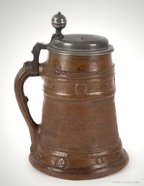 Antique Brown Stoneware Pewter Mounted Tankard, German, Circa 1720, facing right view