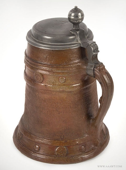 Antique Brown Stoneware Pewter Mounted Tankard, German, Circa 1720, rear angle detail