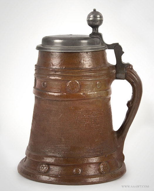 Antique Brown Stoneware Pewter Mounted Tankard, German, Circa 1720, facing left view