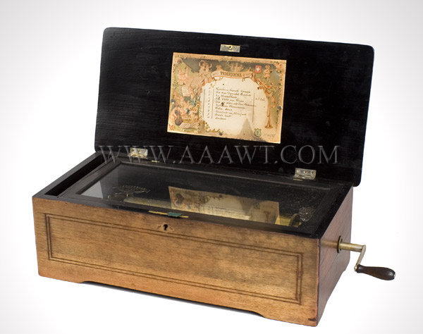 Music Box, Veneered Case, Ten Tune  Swiss  Third Quarter 19th Century  Jacots Safety Check, M.F. 1816 Changer, entire view