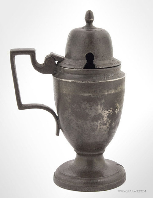 Antique Pewter Dutch Mustard Pot, Early 20th Century, entire view