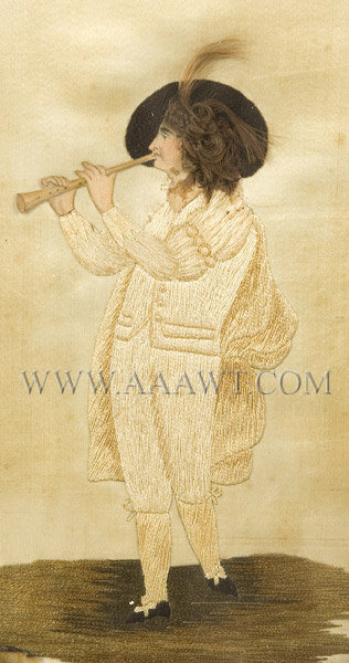 Antique Embroidery, Silk on Silk, Gentleman Playing Instrument, close up view