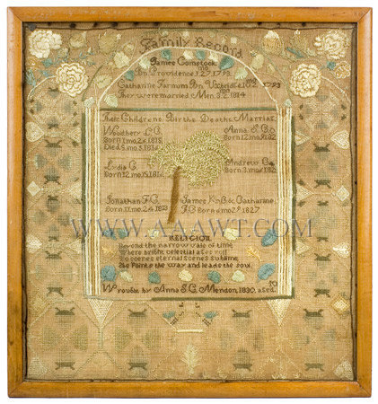 Antique Needlework, Family Record, Comstock Family, 1830, entire view