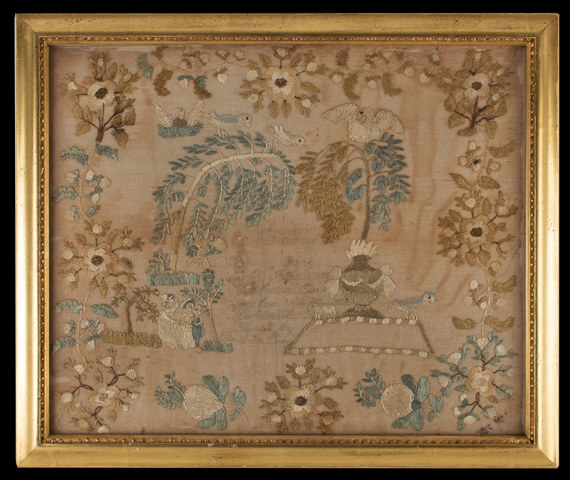 New England Schoolgirl Floral Embroidery, Vacant Family Record