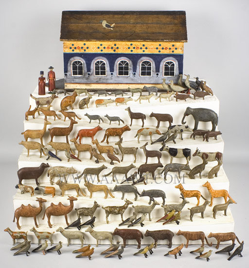 Antique Noah's Ark, 19th Century, Hand Painted, ark and animals view