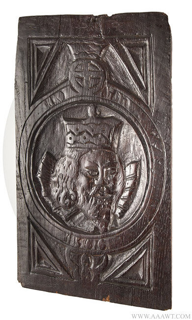 Antique Carved Oak Panel with Charles the V, Dated 1500, angle view