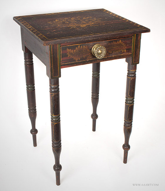 Antique One Drawer State of Maine Paint Decorated Table in Original Paint, Circa 1825 to 1830, angle view