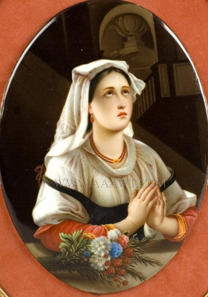 KPM Porcelain Oval Plaque, Finely Painted Scene of Young Lady Praying  Germany  Circa 1875 to 1900, entire view