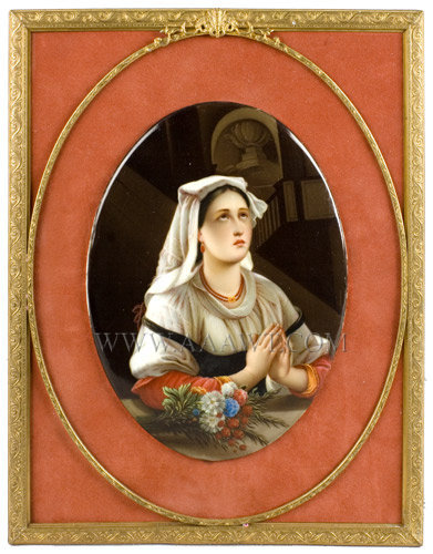 KPM Porcelain Oval Plaque, Finely Painted Scene of Young Lady Praying  Germany  Circa 1875 to 1900, frame view