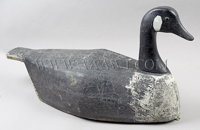 Antique Decoy, Canada Goose, by Joe Lincoln, angle view