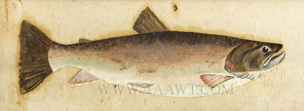 Trout Painting on Birch Bark, Original Frame Adirondack Circa 1900, entire view