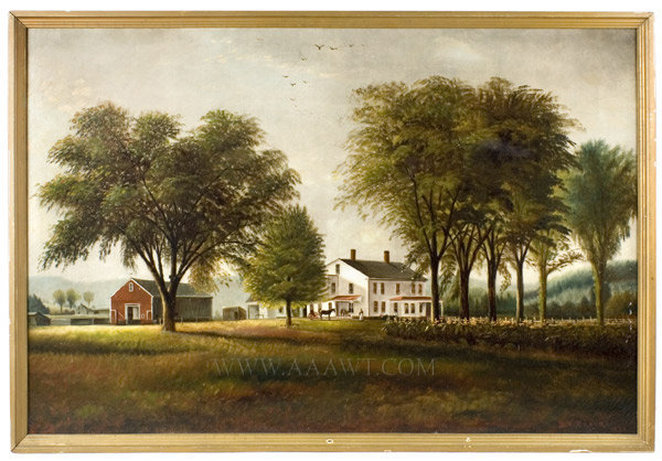 Painting, Farm Scene, New England  Purportedly Worcester County  Signed B.V. Brooks  1895, entire view