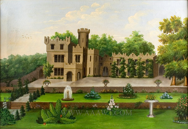Castle Garden Painting, Folk Art  Anonymous  19th Century, entire view