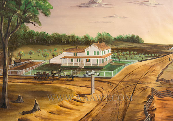 Painting, Folk Art, Farm Landscape, Watercolor, West Bend Anonymous, 19th Century, entire view