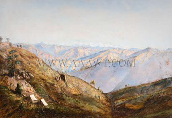 Painting, Mountainous Camp Scene, Tents on Mountainside  Anonymous  Oil on Canvas, entire view