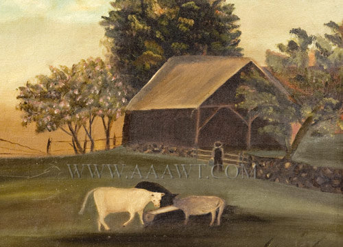 Painting, New England Farm Scene  Nineteenth Century  Anonymous  Oil on Canvas, entire view