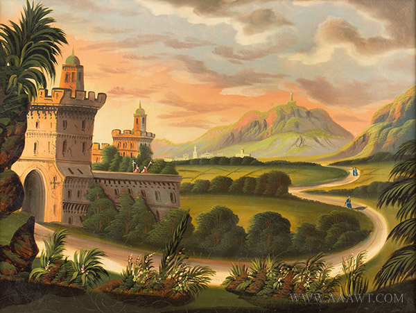 Painting, Mountain Landscape & Castle, Thomas Chambers, Folk Art (1808 to 1866)  New York, Circa (1833 to 1860), entire view