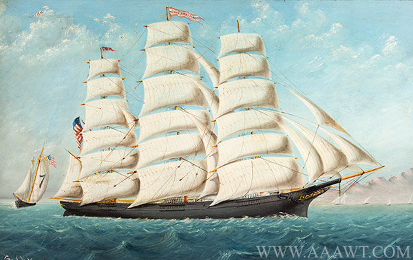 Marine Painting, Clipper Ship, Young America, Oil on Sheet iron Young America, Built by William Webb, 1853, East River, NYC Signed C.M. Vaccarra [sic] unknown, Circa 1890ish, entire view
