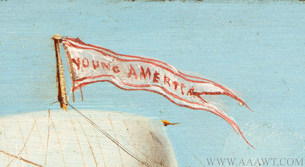 Marine Painting, Clipper Ship, Young America, Oil on Sheet iron Young America, Built by William Webb, 1853, East River, NYC Signed C.M. Vaccarra [sic] unknown, Circa 1890ish, flag detail