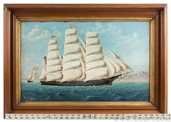 Marine Painting, Clipper Ship, Young America, Oil on Sheet iron Young America, Built by William Webb, 1853, East River, NYC Signed C.M. Vaccarra [sic] unknown, Circa 1890ish, scale view