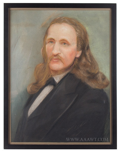Wild Bill Hickok Portrait, Pastel Unknown Artist, 19th Century, entire view