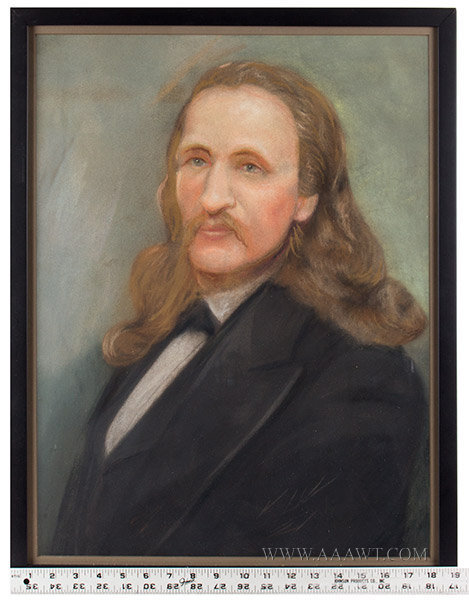 Wild Bill Hickok Portrait, Pastel Unknown Artist, 19th Century, scale view