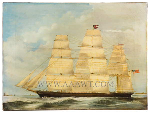 Marine Painting, Clipper Ship Portrait, Full Sail, American Flag, unsigned Verso 'Built by Donald McKay' with additional information Circa last half 19th Century, entire view