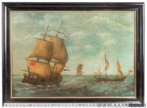 Painting, Dutch Ships at Sea, Oil on Panel, 18th Century Anonymous, entire view