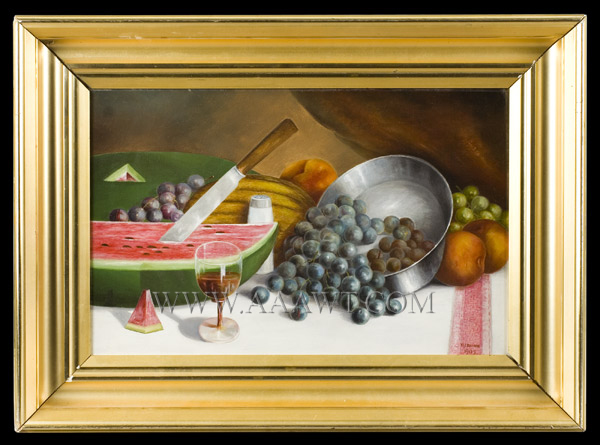 Antique Fruit Still Life signed W.J. Brown, 1905, entire view