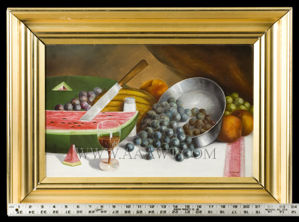Antique Fruit Still Life signed W.J. Brown, 1905, with ruler for scale