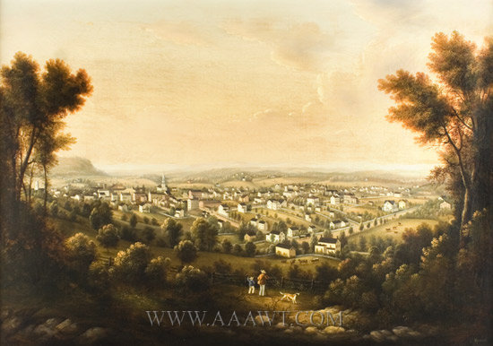 EDWARD KRANICK, A Man, Boy, and Dog Overlooking the View of Morristown NJ  Morristown, New Jersey  1852, entire view