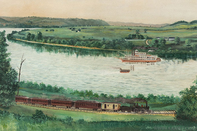 Antique American Folk Riverscape Painting, Circa 1890, train and boat detail