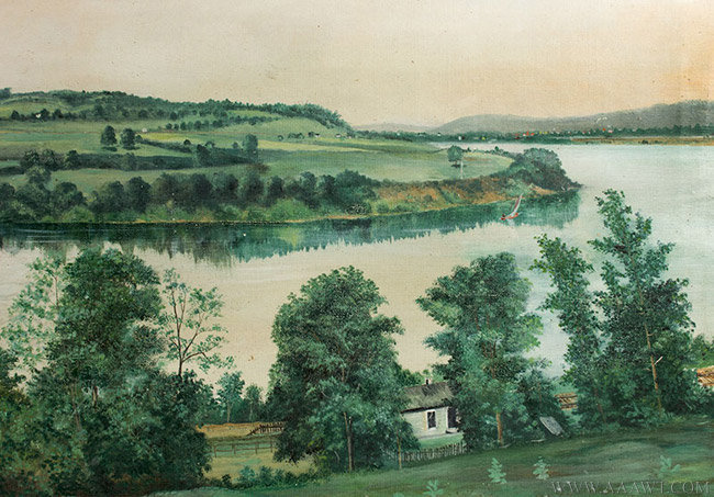 Antique American Folk Riverscape Painting, Circa 1890, river detail