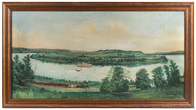 Antique American Folk Riverscape Painting, Circa 1890, entire view