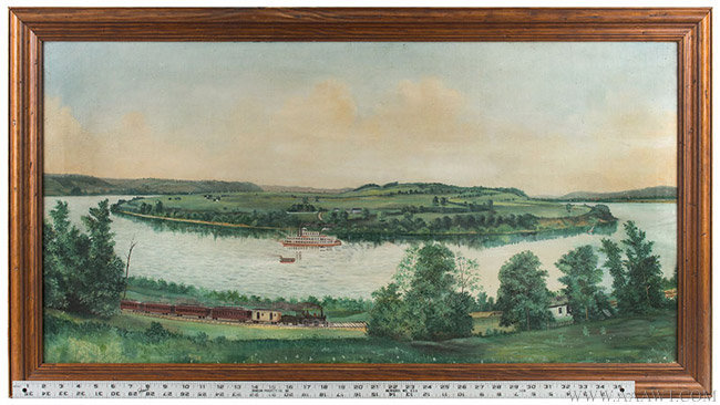 Antique American Folk Riverscape Painting, Circa 1890, with ruler for scale